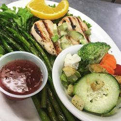 Saturday Gluten free special #chicken #asparagus #salad #lunch #eatfarmington #clancysnm #joltyourjo