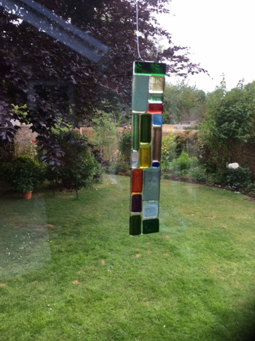 Fused glass squares and rectangles light catcher, 240 x 45 mm