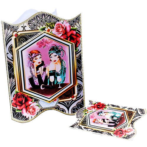 """Greetings Card  - 3D Decoupage 6"""" x 5"""" & Gift tag"""