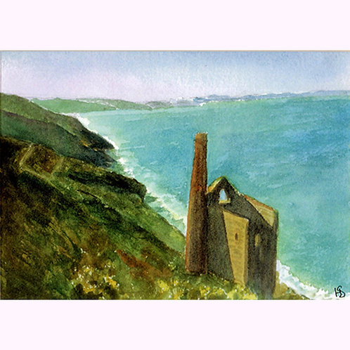 Hazel Smith, Print from an original painting, Towanroath Shaft, Cornwall.