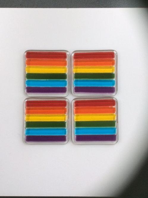 Fused glass rainbow coasters