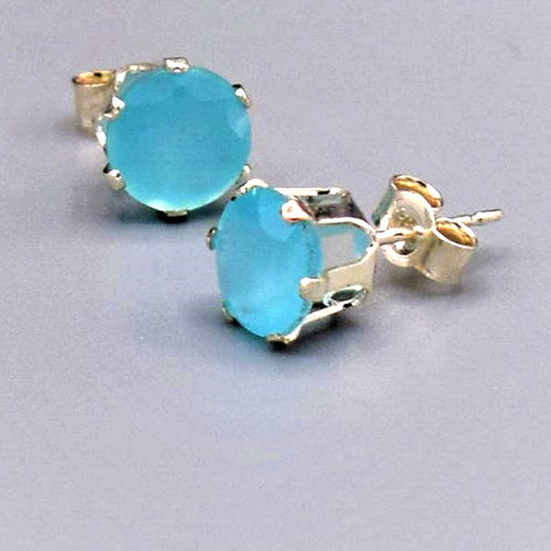 Facetted AA quality Aqua Chalcedony & Sterling Silver Studs