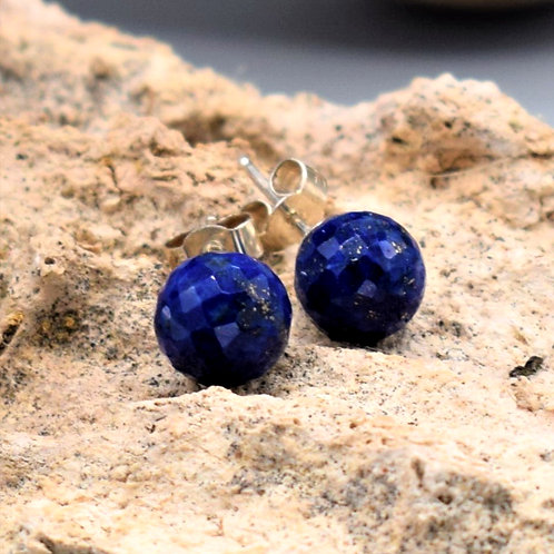Facetted AA quality Lapis Lazuli & Sterling Silver Studs