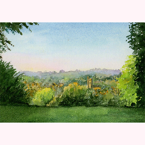 Hazel Smith - Print from original painting. Crewkerne from Bincombe.