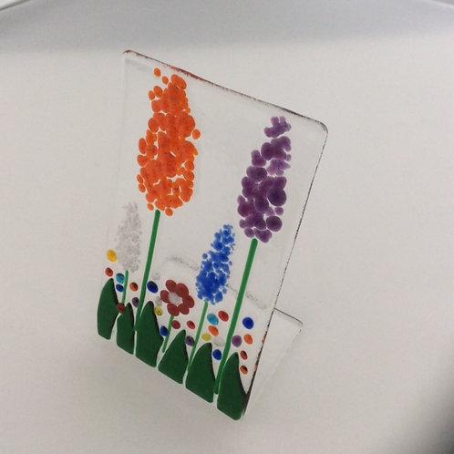 Fused glass free standing (medium) garden scene, 220 x 90mm