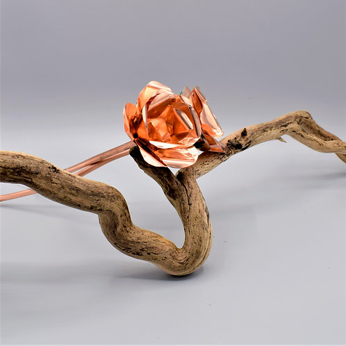Beautiful Hand Crafted Copper Foil Rose. 9 x 23cm