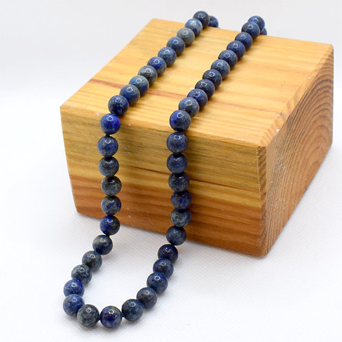 Natural Lapis Lazuli Necklace with Sterling Silver Clasp