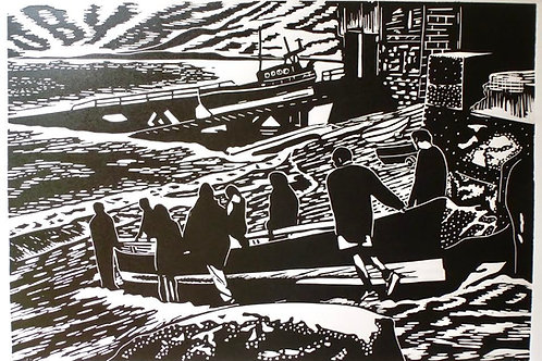 Jake Richards -The Launch. Original Lino Print