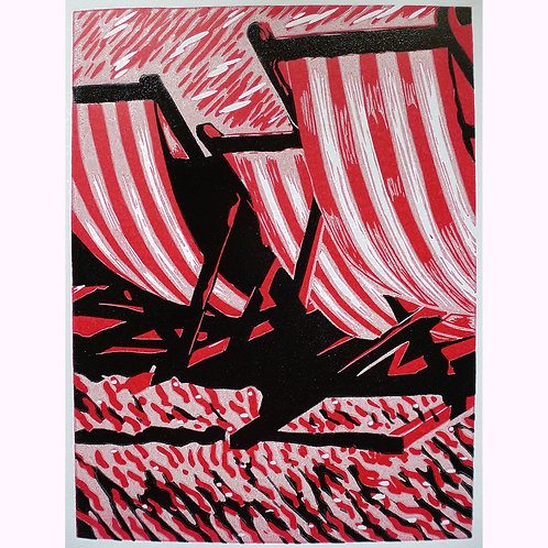 Jake Richards - Summer Daze. Original lino print.