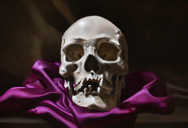 Skull on Purple cloth
