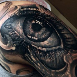 JASON FRIELING TATTOO BLACK AND GREY EYE