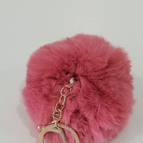 Pink Large Pom Pom Key Chains