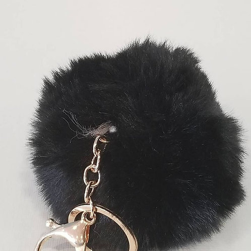 Black Large Pom Pom Key Chains