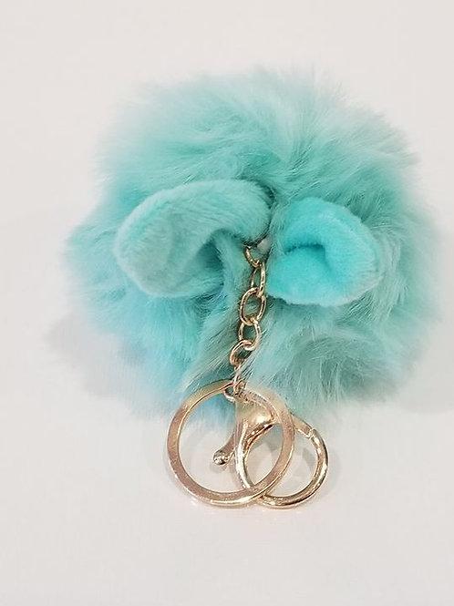 Turquoise Fluffy Bunny Toys Ear Pom Pom Key Chain