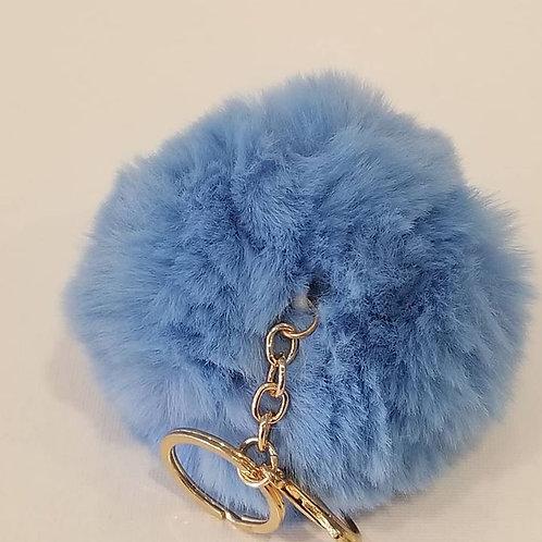 Light Blue Large Pom Pom Key Chains