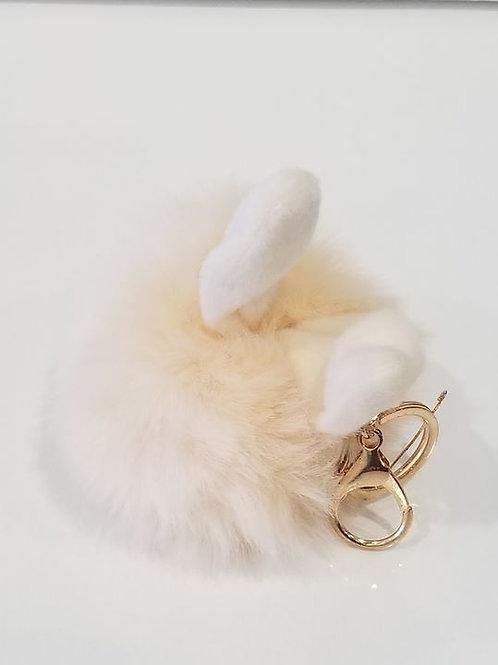 Cream Fluffy Bunny Toys Ear Pom Pom Key chain