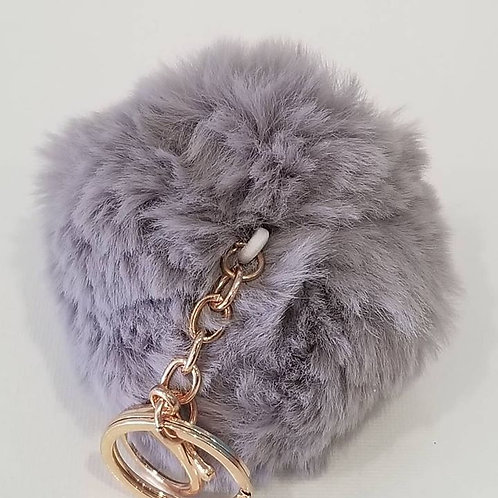 Grey Large Pom Pom Key Chains