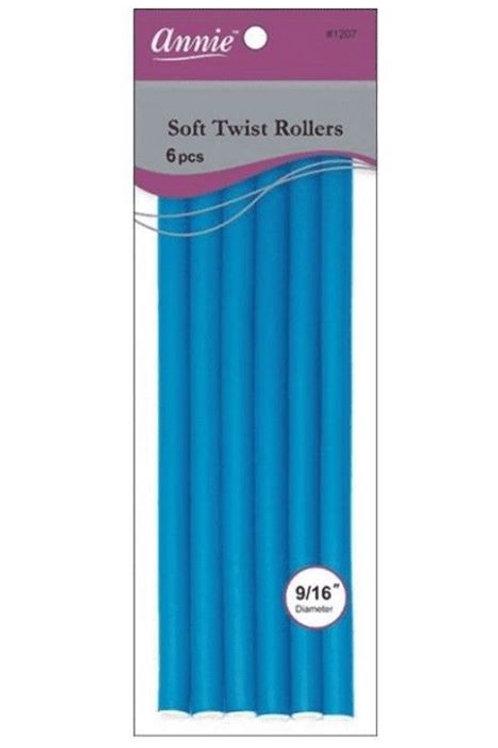 "Annie Blue Soft Twist Rollers 10"" Long"