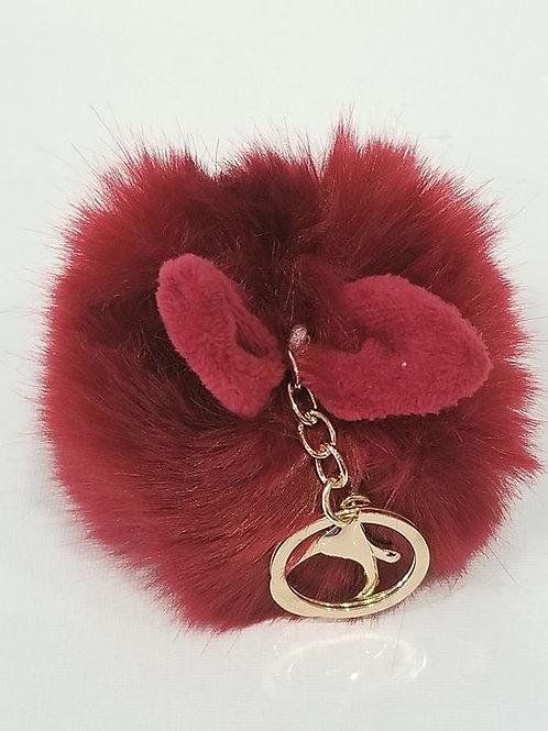 Red Fluffy Bunny Toys Ear Pom Pom Key Chain