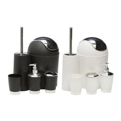 Modernes WC Badezimmer Set, 5-teilig, in schwarz und weiß