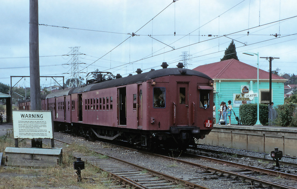 Four car single deck suburban set S13 waits in the run round siding at Carlingford for the return of its passengers during a tour in March 1975. Photo by John Youngman.