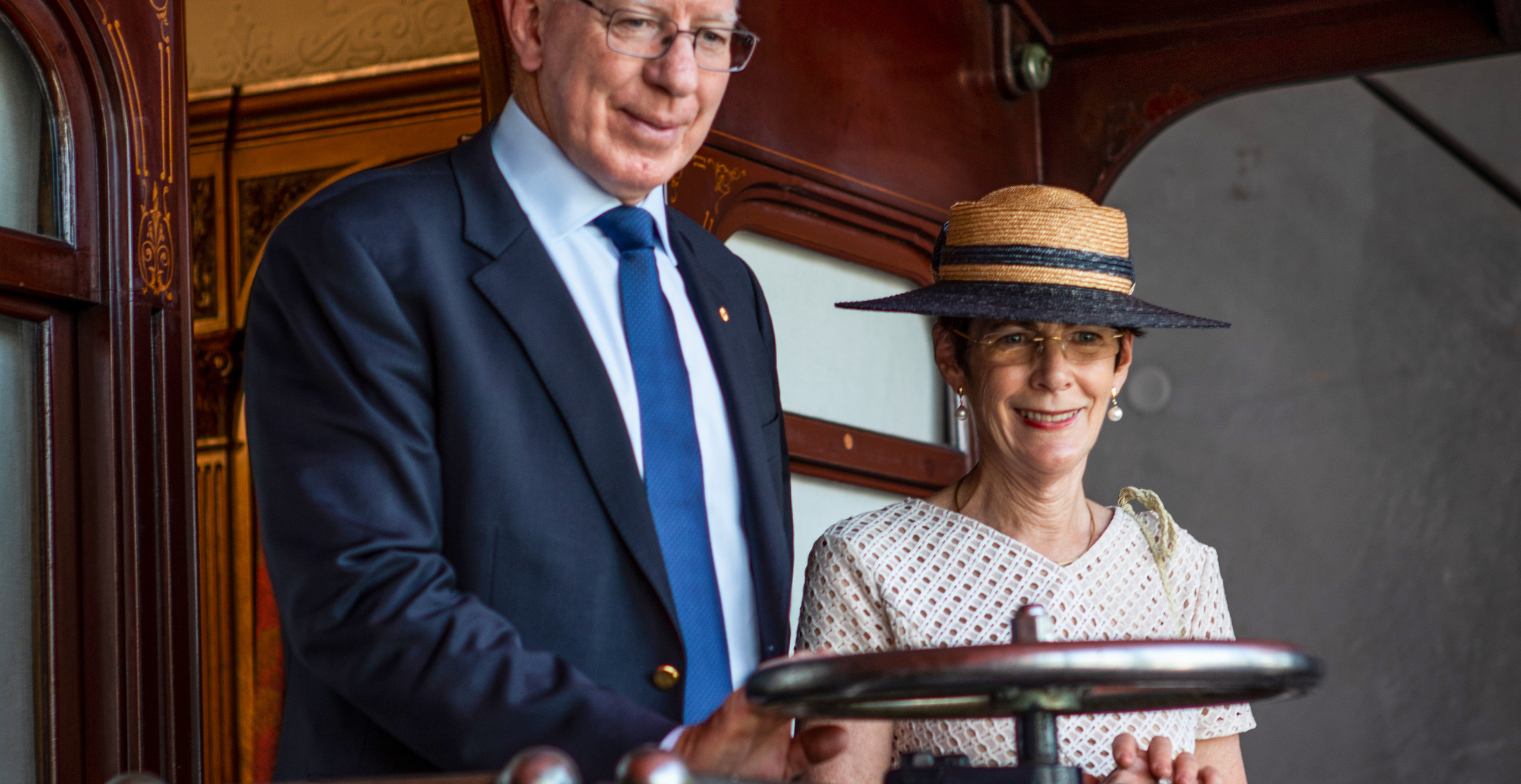 His Excellency and Mrs Hurley visit the Governor-General's carriage. -Trys Eddy Photos