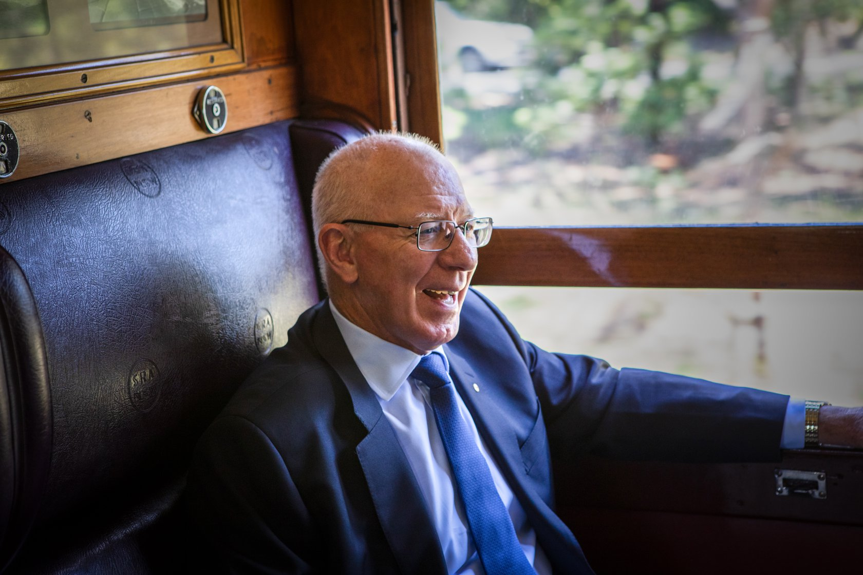 His Excellency enjoys a steam train ride along the loop line. -Trys Eddy Photos