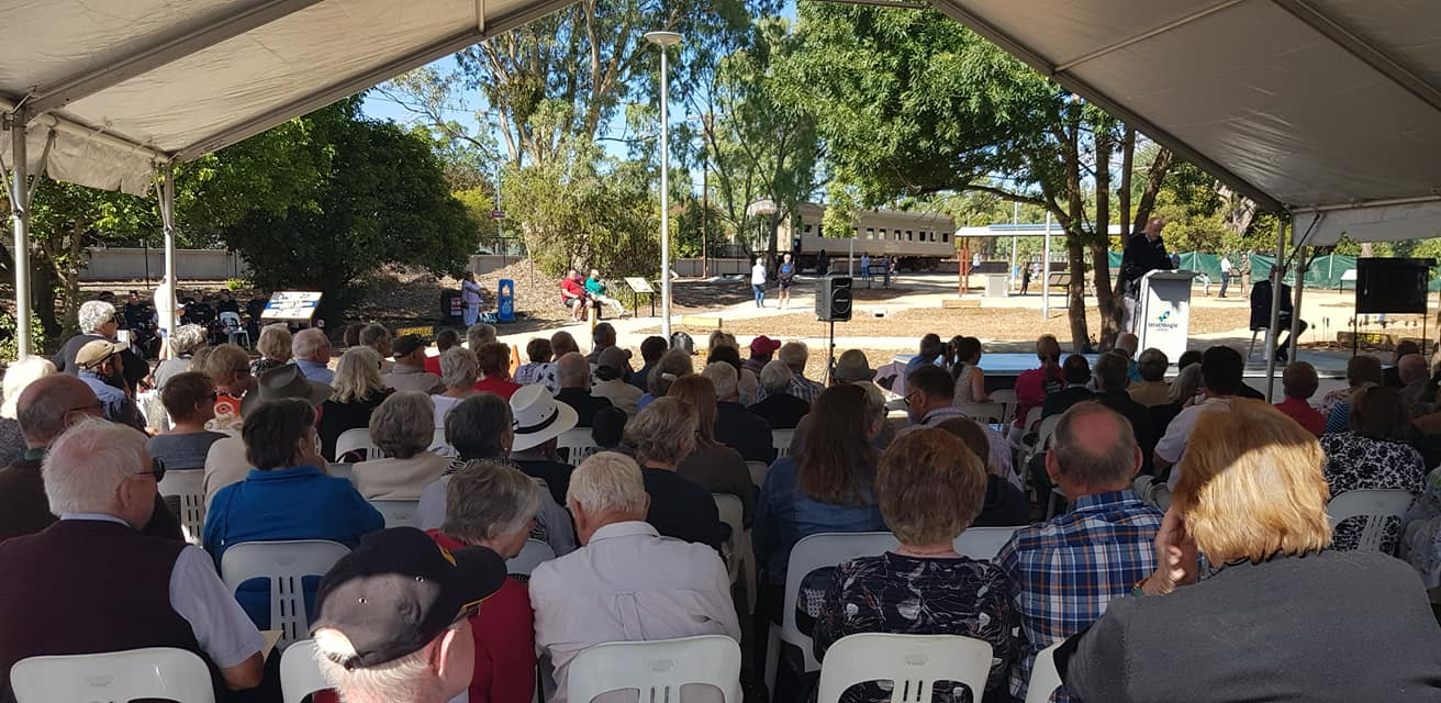 Attendees gathered for the official opening of the Southern Aurora Memorial Garden, Violet Town. -Chris Fielder