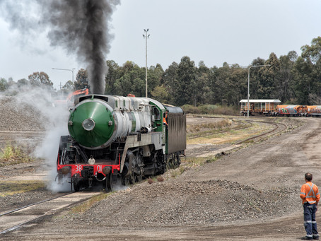 Locomotive 3801 moves under own power for first time