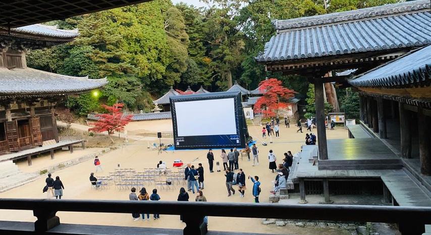 日本遺産 映画ラストサムライの撮影地「書写山」にてラストサムライ以来の特別上映会を開催致しました。