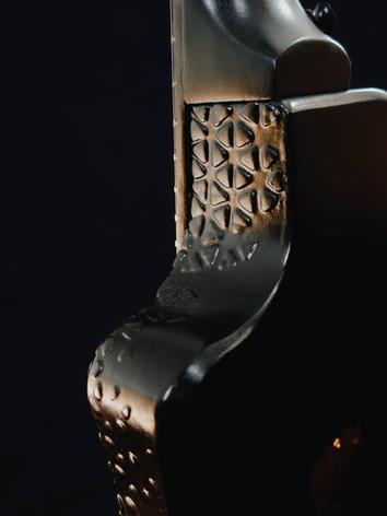 Honfleur semi hollow guitar texture close up