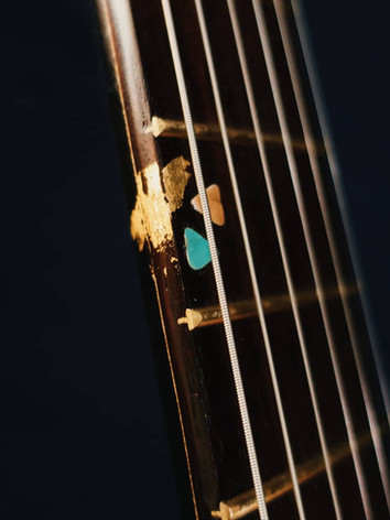 Honfleur semi hollow guitar gold marker detail