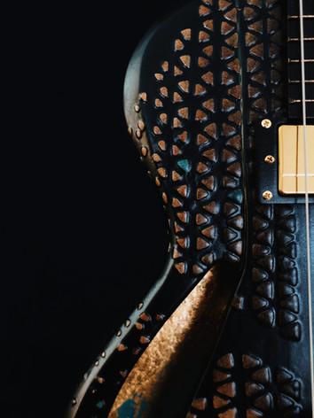 Honfleur semi hollow guitar soundhole close up