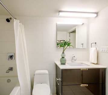 Modern home bathroo with sink, tub, shower and toilet