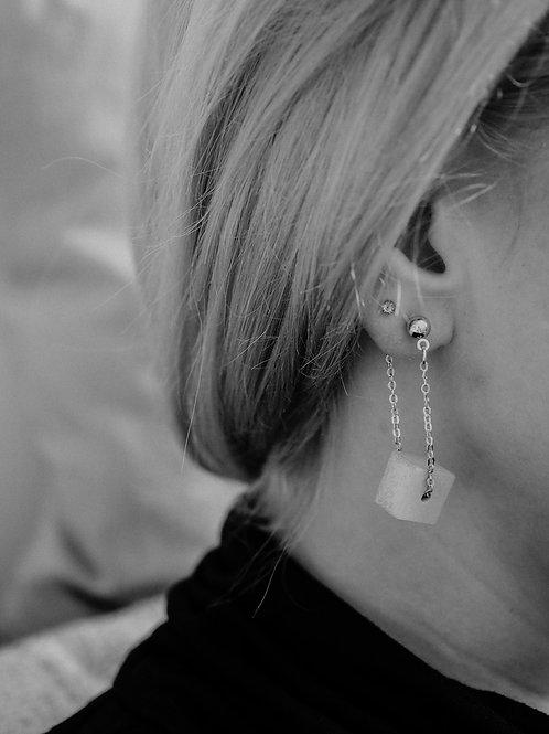 Ketten- Ohrhänger mit Betonwürfel