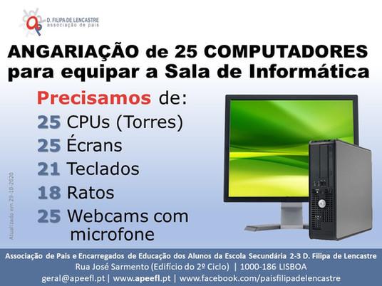 25 computadores para a Sala de Informática