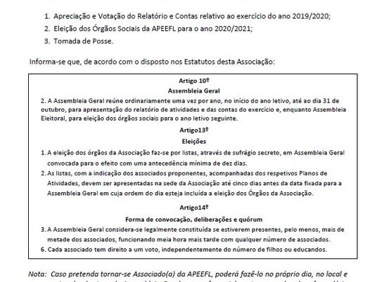 Assembleia Geral | APEEFL | 30-10-2020