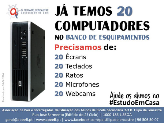 Já temos 20 computadores - precisamos de periféricos!