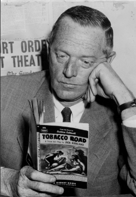 "Author Erskine Caldwell, author of ""Tobacco Road"" reading his book. Photo Credit and Link: Bill Dennett/Vancouver Sun. Vancouver Police Museum Blog History"
