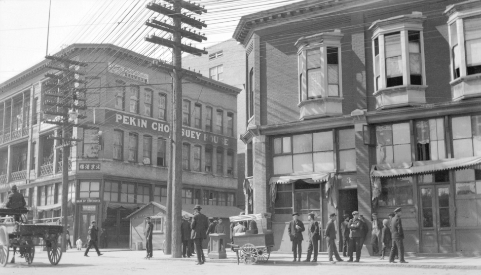 Disover parts of Chinatown in Vancouver that you've never seen before during our Sins of the City tour: Vice, Dice, and Opium Pipes. Photograph of Pekin Chop Suey, the Bank of Vancouver and a hand cart in Vancouver's Chinatown in 1910. Image Credit: Vancouver Archives Vancouver Archives :AM54-S4-2-: CVA 371-2116