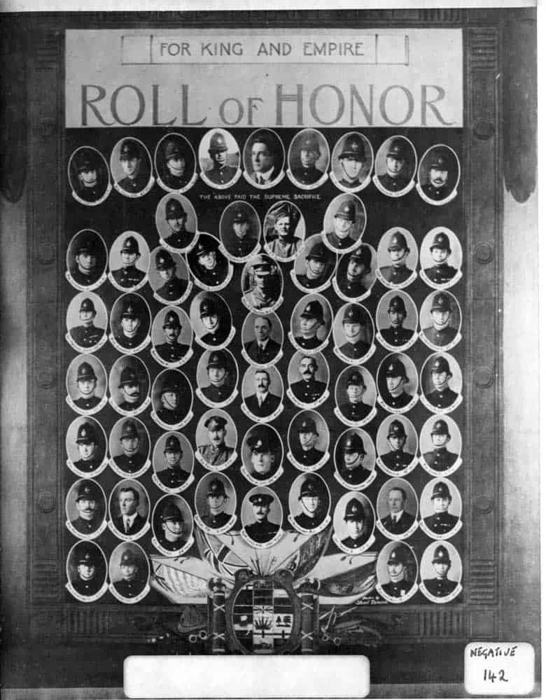 VPD Roll of Honour, commemorating the men who fought in WWI. VPM Archival Photo P01076.