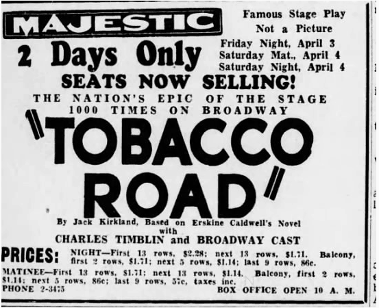 Tobacco Road Newspaper Clipping, from Harrisburg Telegraph, 31 Mar 1936, Tue, Page 16. The Vancouver Police Museum Blog History