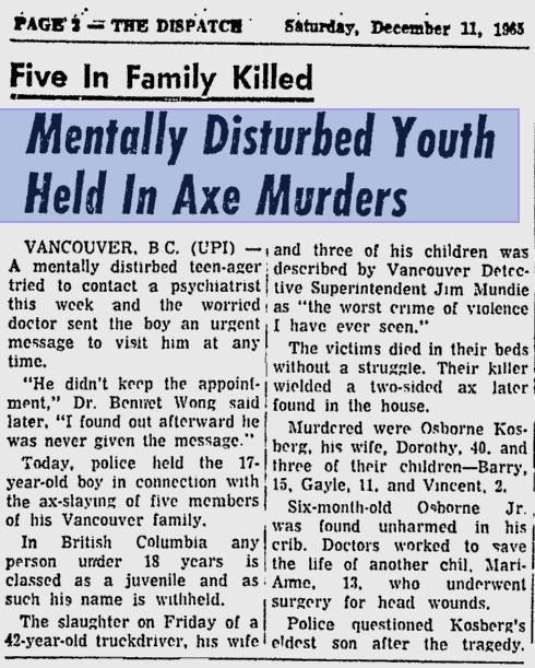 Kosberg murder newspaper clipping