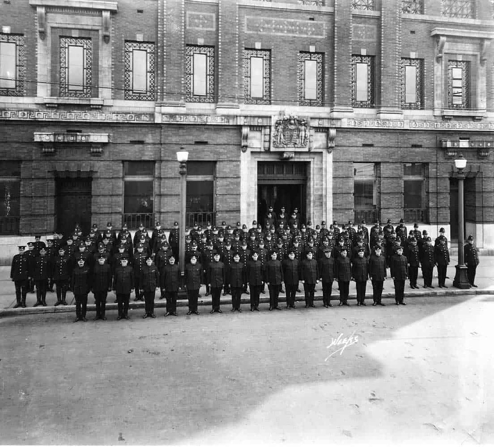 The VPD in full force in front of the new station on Cordova Street, 1913. VPM Archival Photo P02526