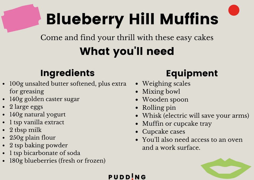 Blueberry Hill Muffins Ingredients and Equipment