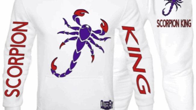 White b Scorpion King Joggers Set