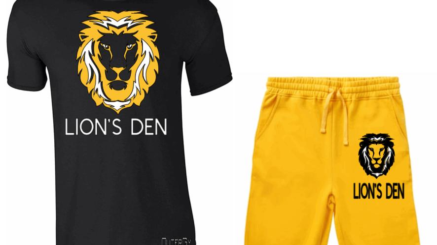 LION'S DEN BLACK GOLD SHORT SET