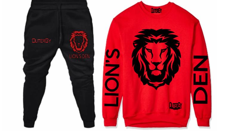 Red Black Lion's Den Fleece Set