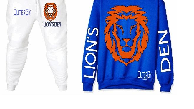 LION'S DEN BLUE ORANGE  FLEECE SET