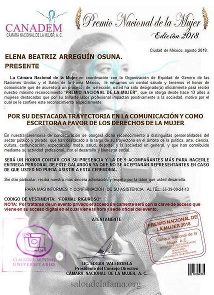 Premio Nacional de la Mujer Elena Arreguin Osuna